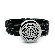 BOFEE Essential Oil diffuser Locket Bracelet Screw Top Cross Aromatherapy Stainless Steel Leather Wrap Fashion Jewelry Gift 30MM