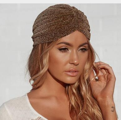 3db6f4e2b8a Aproms Women Bling Silver Gold Knot Twist Turban Cap Autumn Winter Warm  Headwear Casual Streetwear Female Indian Hats
