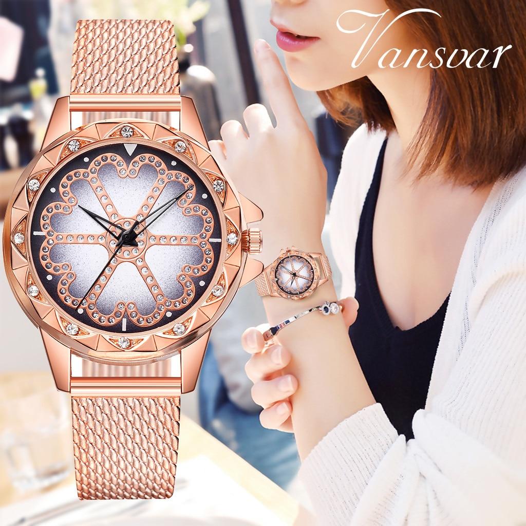 Vansvar Casual Womens Gold Mesh Watch Flower Print Analog Dress Quartz Wrist Watch Montre Femme Ladies Clock 533