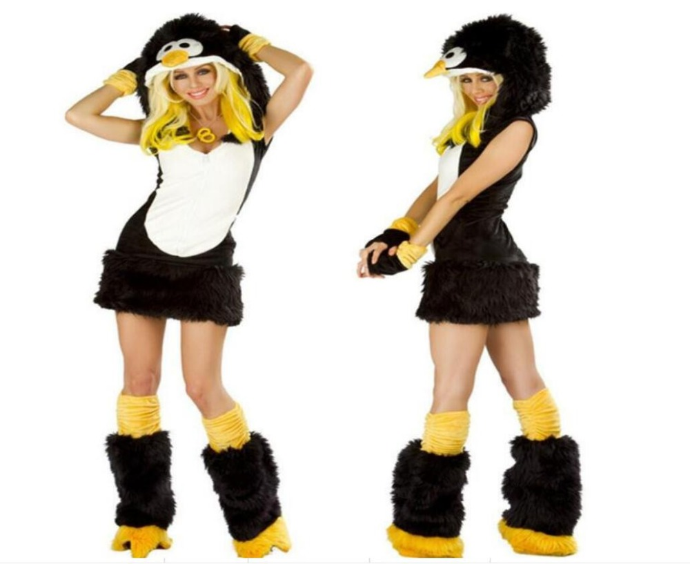 4 Pcs <font><b>Sexy</b></font> Christmas Erotic Costume Cat-woman For Ladies Fur Temptation Penguins <font><b>Halloween</b></font> Costumes Cosplay <font><b>Dress</b></font> Cony CT028 image