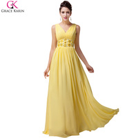 Free Shipping 1pcs Lot Grace Karin Deep V Neck Chiffon Beading Floor Length Prom Gown Yellow