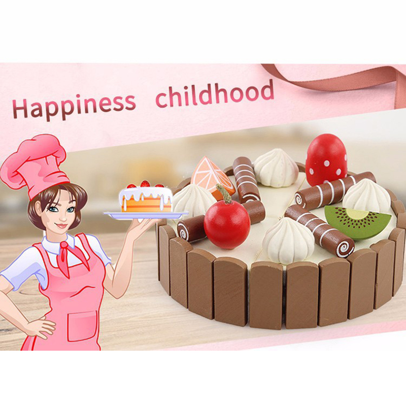Image 2 - Wooden Baby Kitchen Toys Pretend Play Cutting Cake Play Food Kids Toys Wooden Fruit Cooking Birthday Gifts Interests Toy-in Kitchen Toys from Toys & Hobbies