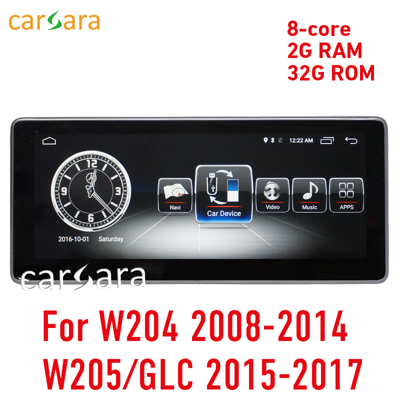 2G RAM Android display for C Class W204 2008-2014 W205 GLC 10.25 touch screen GPS Navigation stereo radio multimedia player