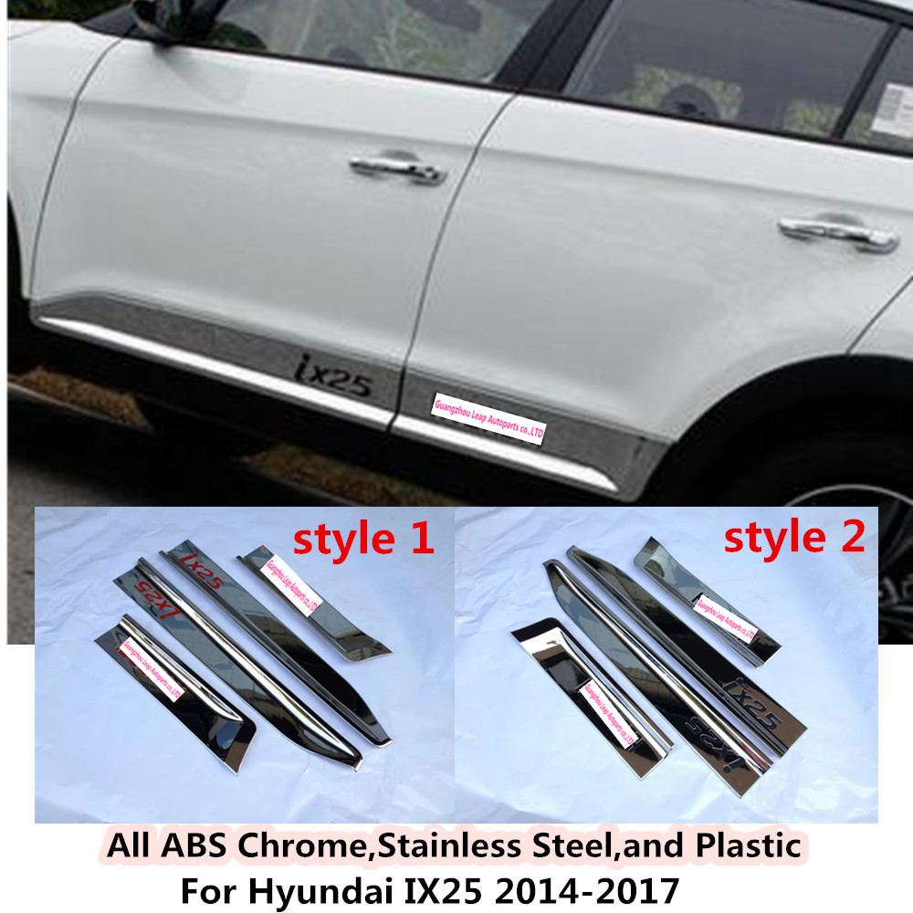 Car styling cover detector ABS chrome Side Door Body trim Strips Molding hoods 4pcs/set For Hyundai IX25 2014 2015 2016 2017 for peugeot 301 2013 2014 2015 2016 car styling cover detector sticker abs front license grille frame chrome trim strips 1pcs