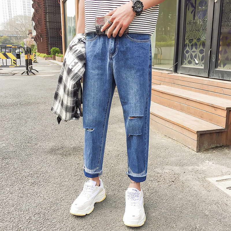 Homme Jeans 2018 Mens Fashion Trend Cowboy Holes Straight Wide Leg Patchwork Casual Blue Loose Denim Trousers Free shipping