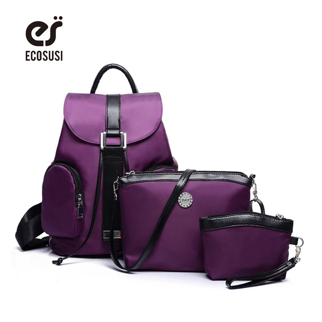 ECOSUSI Nylon Backpack 3 Pcs Set Women Bag High Quality Travel Backpack  Colorful Shoulder Bags coin Collect Student School Bags c833d2121b3da