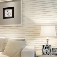 Modern Simple Home Decor 3D Flocking Non Woven Horizontal Striped Wallpaper Roll For Bedroom Living Room