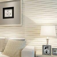 Modern Simple Home Decor 3D Flocking Non Woven Horizontal Striped Wallpaper Roll For Bedroom Living Room