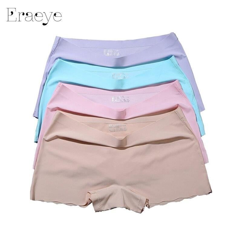 4PCS / Lot Women 's Safety Short Pants Ladies Knickers Underwear Women Panties Ice Silk Lingerie Women Seamless Safety Pants