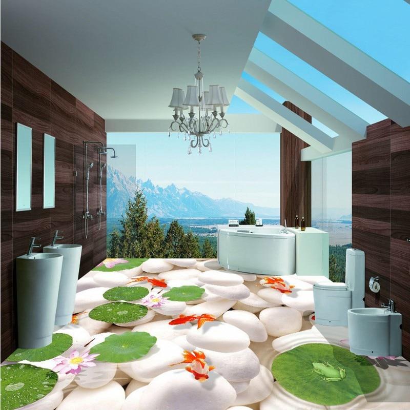 ФОТО Free Shipping 3D pebble flooring wallpaper hotel square decorative waterproof floor mural