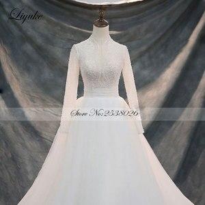 Image 5 - Liyuke Vintage yumuşak tül yüksek yaka tam kollu A Line düğün elbisesi mahkemesi tren boncuk kristaller inciler gelinlik