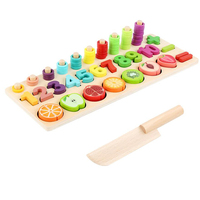 Children Early Education Teaching Math Toys Count Fruit Cognition Match Cut Fruit Children Wooden Toys Montessori Materials Tool