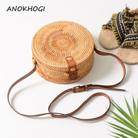 Adjustable Straps Vintage Women Rattan Bags Side Totems Handmade Straw Woven Ladies Shoulder Bag Retro Crossbody Handbags B318