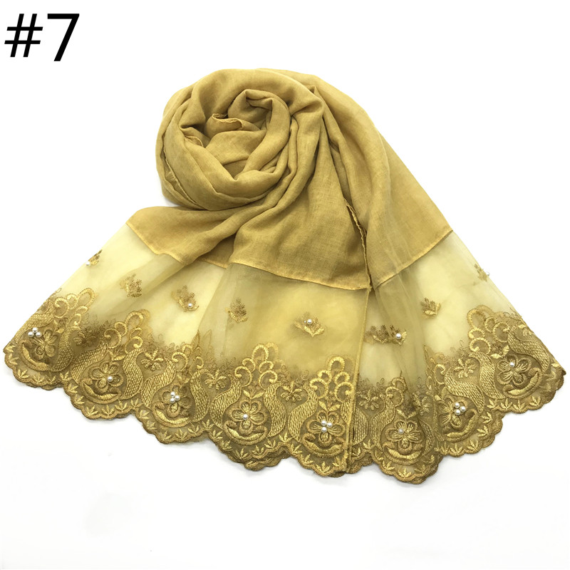 Image 4 - 1pc Two Sides Lace Edges Muslim Cotton Scarf Plain Hijab With 