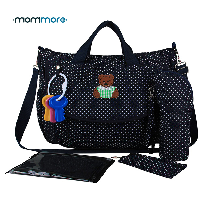 mommore 2018 New Diaper Bag Dot Nappy Bag With Changing Pad Mother Tote Bags Mummy Handbags Waterproof Baby Stroller Bag