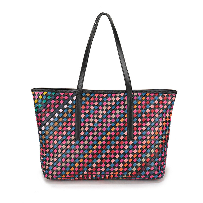 Newest Women Handmade Woven Bags Colorful Patchwork Sheepskin Genuine Leather Handbag Youth girls Knitted Real Leather Tote Bag