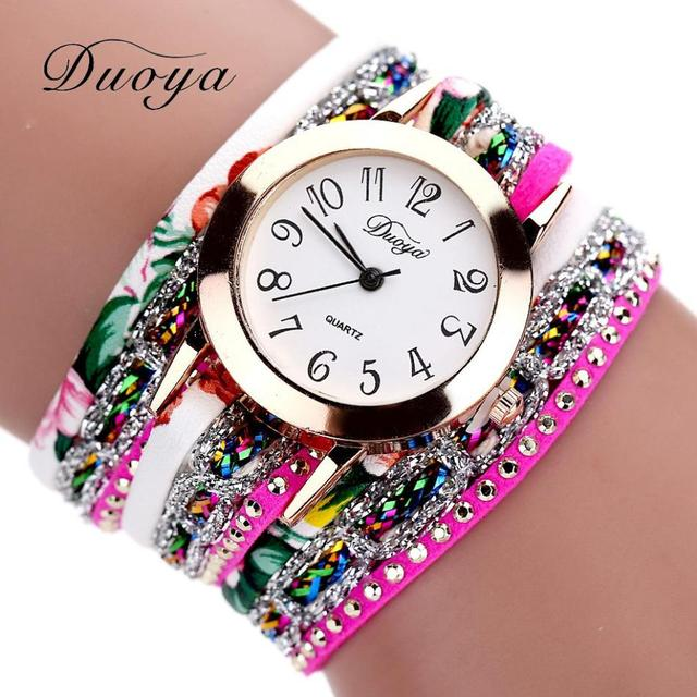 DUOYA Women Bracelets Watches Ladies Rhinestone Wrap Around Pu Leather Quartz Wr