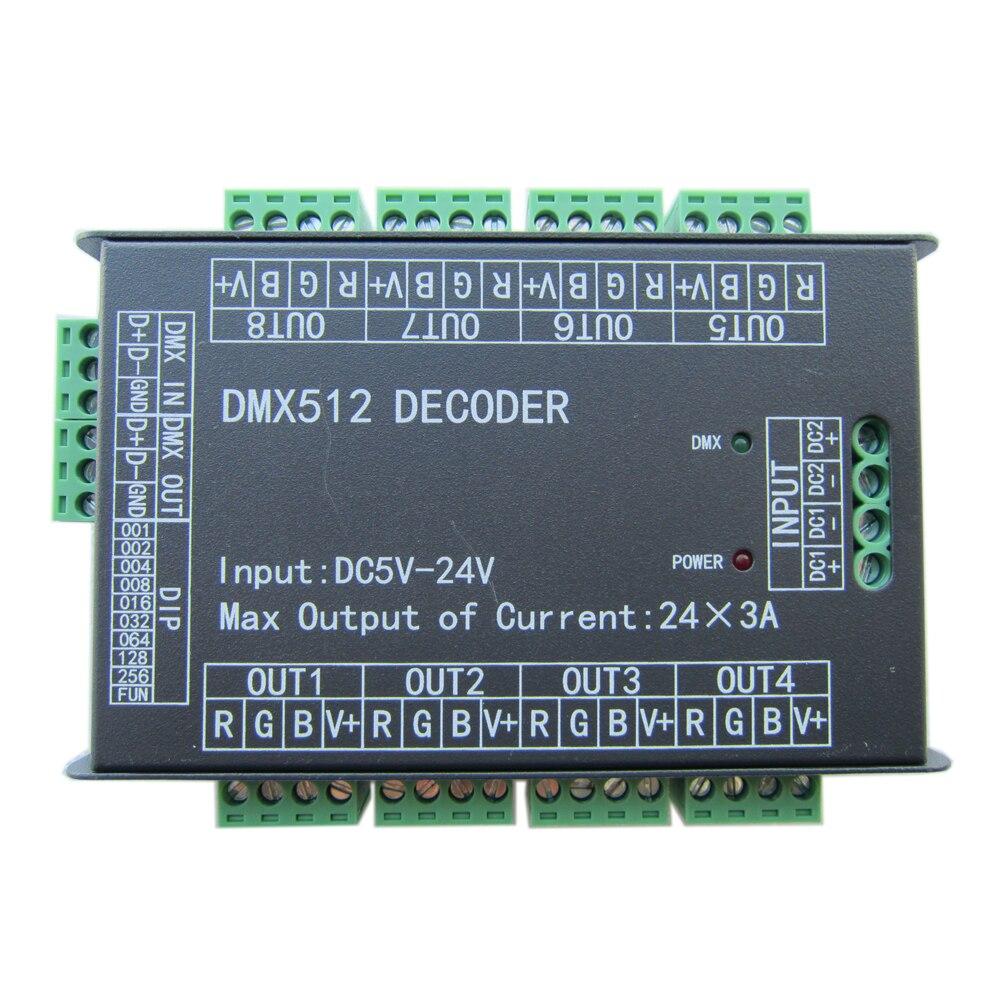 24CH 24channel Easy dmx512 DMX decoder LED dimmer Controller DC5V 24V Max 3A 8 groups RGB