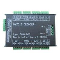 24ch 24 채널 easy dmx512 dmx 디코더  led 조광기 컨트롤러  DC5V-24V  최대 3a  8 그룹 rgb 컨트롤러  led 스트립 용 철 케이스
