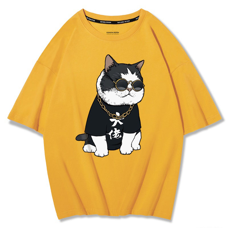 MFERLIER summer mens short sleeve cotton t-shirts print dog cat funny plus size big 4XL 5XL tees loose tShirt black Hip hop tops 4