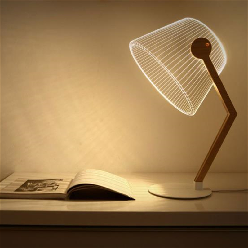 Ins Hot 3D Effect LED Desk Lamp Wood Support Acrylic Lampshade LED Light Living Room Bedroom Reading Lamp With USB Plug ins hot novelty led rechargeable