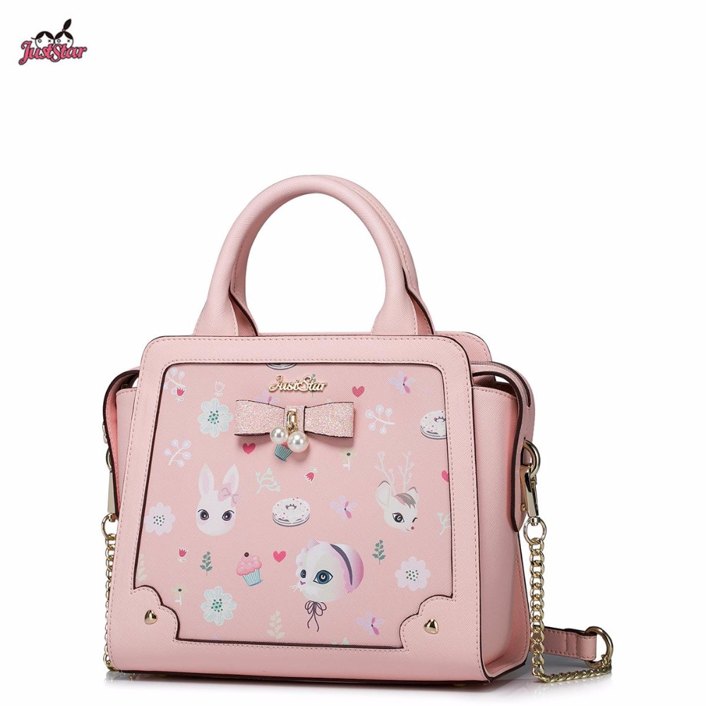 Just Star Brand New Design Fashion Pearls Bow Pets Printing PU Women Leather Girls Ladies Handbag Shoulder Bag Cross body Bags just star brand new design fashion mermaid printing pu leather women handbag girls shoulder bag cross body small round bag