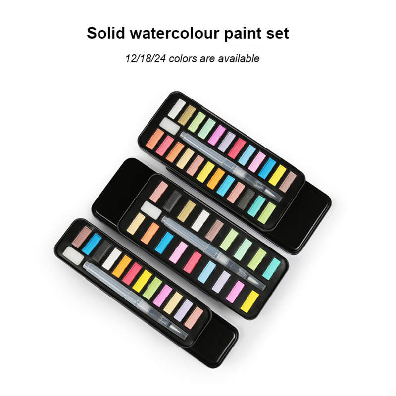 Solid gouache paint set with 12 colors, 18 colors, 24 colors gouache powder 1set art supplies in case for kids painting utensils все цены