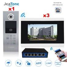 7 מסך מגע WIFI וידאו דלת טלפון IP וידאו אינטרקום עבור בניין בקרת גישה מערכת תמיכה סיסמא/IC כרטיס עם מתג