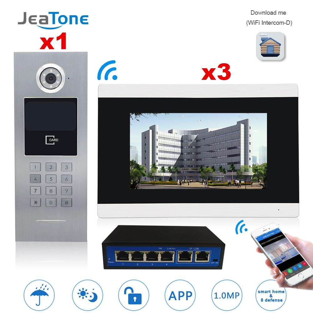 7 pantalla táctil WIFI Video puerta teléfono IP Video intercomunicador para construir el sistema de Control de acceso compatible con contraseña/tarjeta IC con interruptor-in Video-portero automático from Seguridad y protección on AliExpress