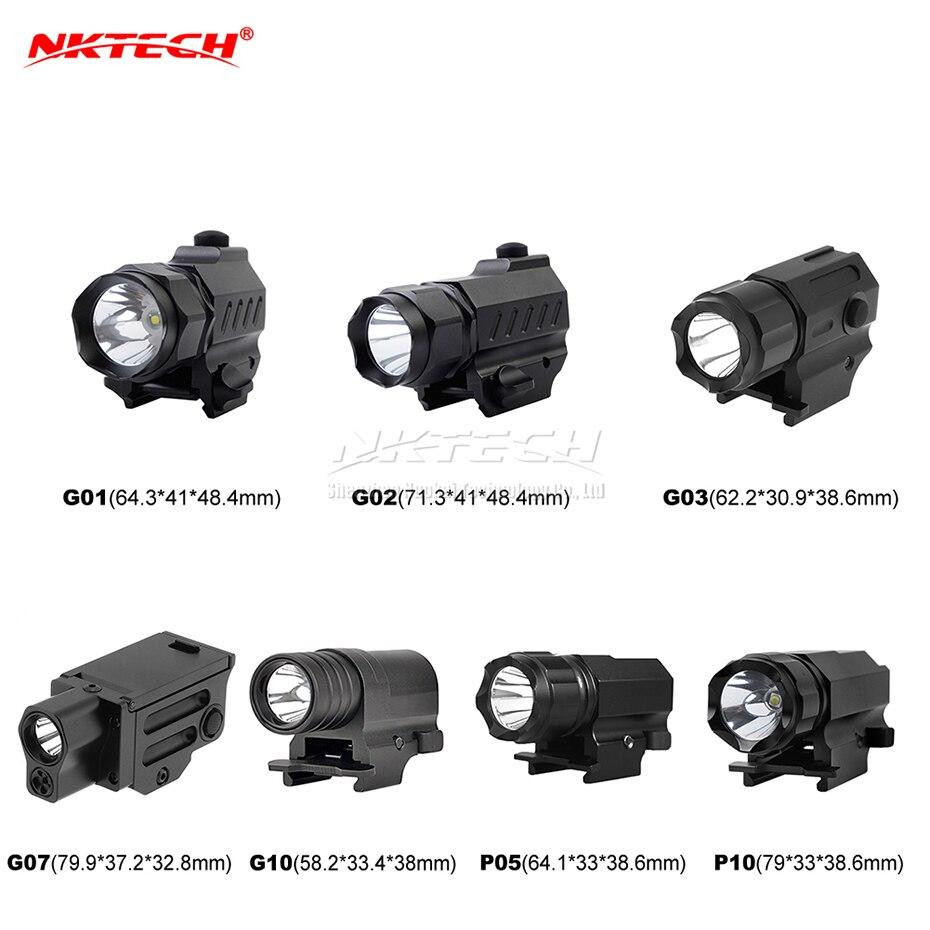 NKTECH Tactical LED Gun Flashlight MINI G01 G02 G03 G07 G10 P05 P10 XP-G2 2-Mode Pistol Handgun Torch Light For Hiking Hunting