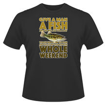 Mens Funny  T-Shirt, Give A Man Fish, Ideal Gift or Birthday Present. New T Shirts Tops Tee Unisex