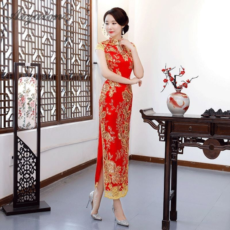 Red Chinoise Long Cheongsam Modern Bride Marry Slim Vintage Gown Women Chinese Wedding Dress Qipao Oriental Embroidery Qi Pao