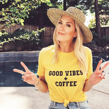 цена на GOOD VIBES COFFEE tshirt harajuku graphic t shirts 90s thanksgiving casual print o-neck 2019 aesthetic plus size