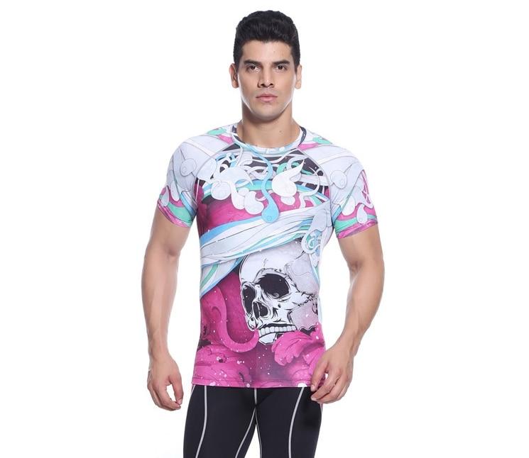 2017 brand yoga t-shirt men Gym Bodybuilding pink Men Outdoor Sportwear skulls Short Sleeve T Shirt Crossfit Camisa