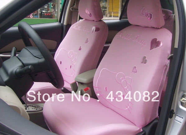 Pink Car Seat Cover Set 10pcs Hello Kitty For Universal 5
