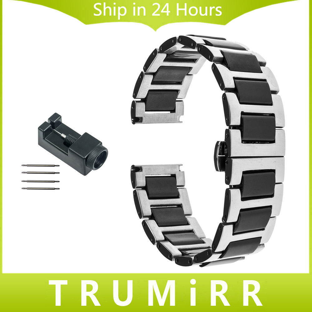 18mm 20mm 22mm Ceramic + Stainless Steel Watch Band for Citizen Men Women Strap Butterfly Buckle Belt Wrist Bracelet Black White curved end stainless steel watch band for breitling iwc tag heuer butterfly buckle strap wrist belt bracelet 18mm 20mm 22mm 24mm