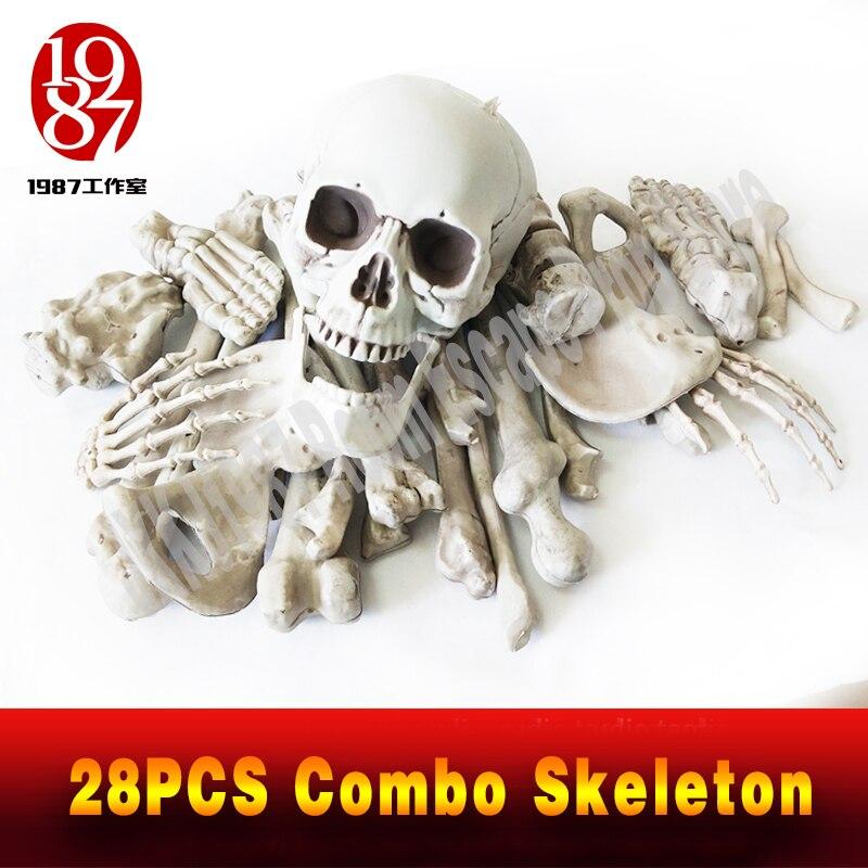 New decoration for escape rooms 28PCS Combo Skeleton plastic Skeleton emulational decoration Halloween and terror theme jxkj1987 for decoration