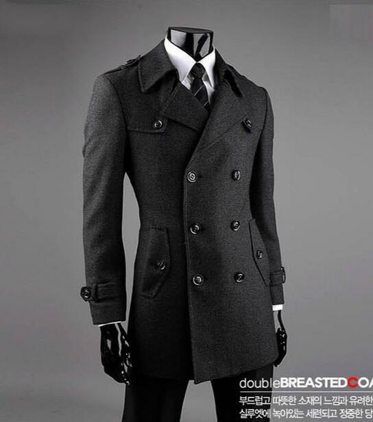 e49ed092643 Grey casual Double breasted wool coat men suits 2017 trench jackets mens  wool coats overcoats dress winter plus size S 9XL-in Wool   Blends from  Men s ...