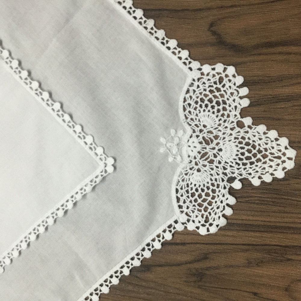 Set Of 60 Fashion Ladies Handkerchiefs 12-inch White Cotton Sweet Heart Hankie Wedding Bridal Hankies Vintage Lace Edgings Hanky