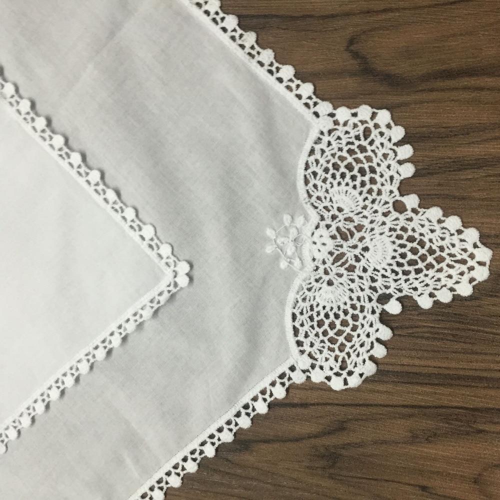 Set Of 60 Fashion Ladies Handkerchiefs 12-inch White Cotton Sweet Heart Hankie Wedding Bridal Hankies Vintage Lace Edgings Hanky