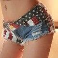 America flag Sexy Low Rise Denim Shorts women cutoff Ripped Booty Disco Shorts Club wear chort feminino short femme jean