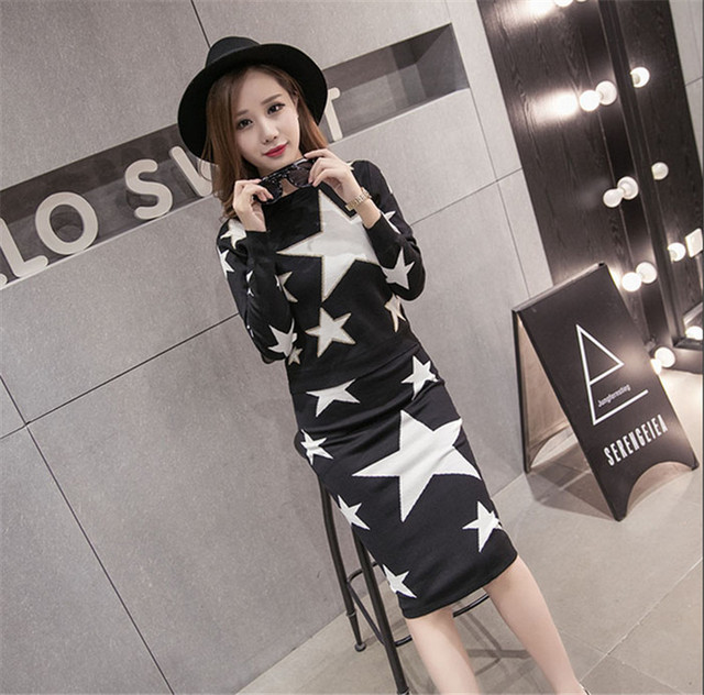 Wholesale Popular Stars Kits for Women Printed Casual Stars Patterns Pencil Skirts Sweaters Sets Knee Length Long Skirt Sets