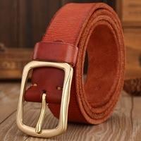 Solid Brass Buckle 2016 Brand Full Grain 100 Real Genuine Leather Mens Belts Luxury Hot Designer
