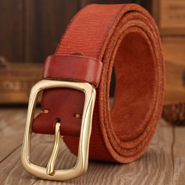 solid brass buckle 2017 full grain 100% genuine leather mens belts luxury hot designer belt men high quality womens cowboy brown