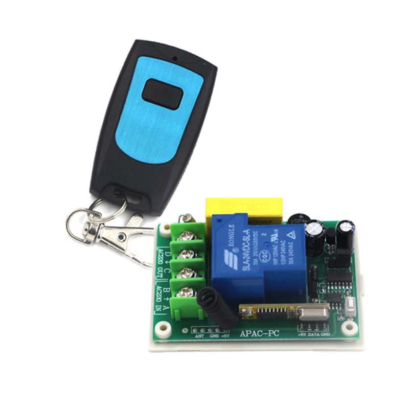 <font><b>Outdoor</b></font> 200m rf wireless remote control <font><b>light</b></font> switch 220v 30A 1CH for home automation 1 receiver + 1 transmitter 4156