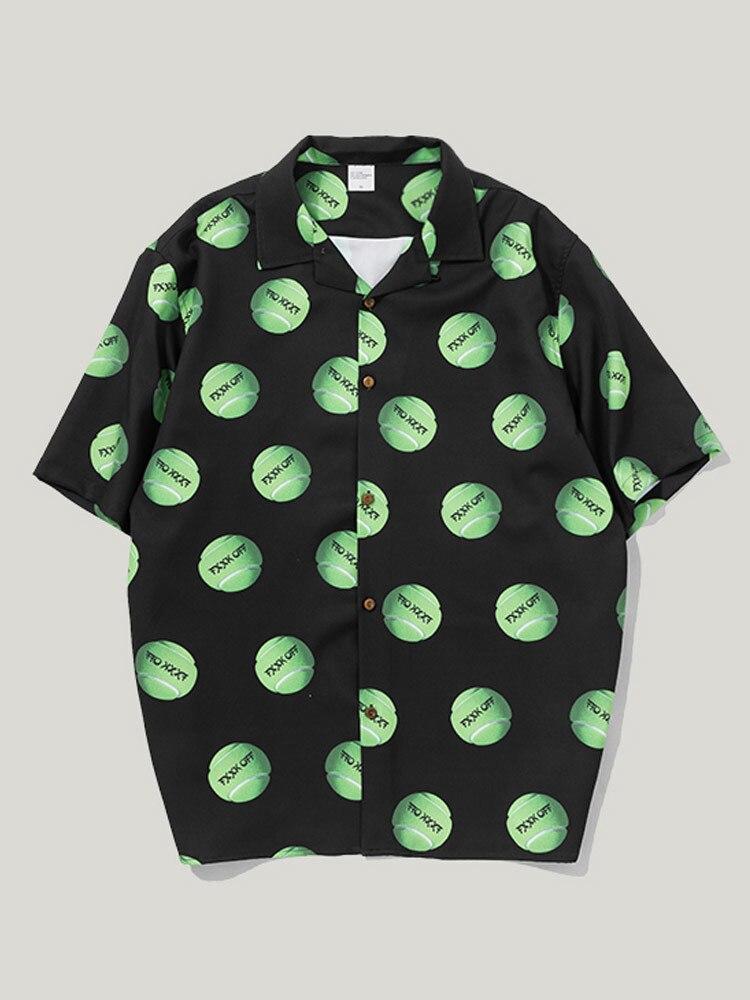 Мужская рубашка с коротким рукавом и принтом тенниса, весна лето - 5