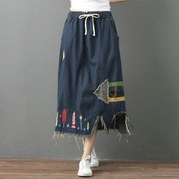 цена на Patchwork Arrows Irregular Denim Skirt Women Elastic Waist Lace-Up Asymmetrical Hem Straight Ankle-length Loose Female Skirts