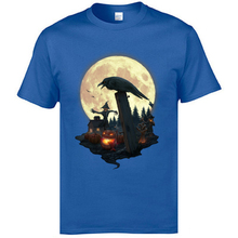 Blue Color Young Tshirts Halloween Evil Pumpkins And Crows New Stylish T Shirts Street Tops & Tees Natural Cotton Leisure Tshirt