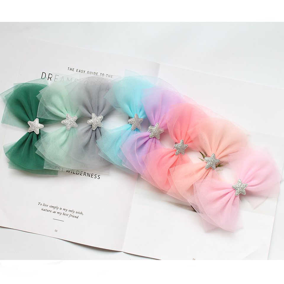 Fashion Girls' Multi-Layer Tulle Bow Hair Clip Star Hairpins Kids' Lined Alligator Barrettes Hair Accessories HC091