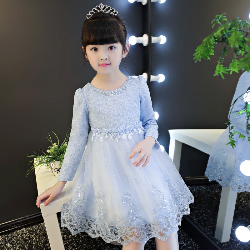 4-12year Autumn Flowers Ruched Girls Dress Kids Clothing Princess Party Birthday Dovetail Dresses Long Sleeve Kids Vestido Cloth uoipae party dress girls 2018 autumn